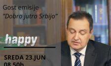 """Ивица Дачић биће гост емисије """"Добро јутро Србијо"""" на ТВ Хепи, 23. јун 2021. од 08:50 ч"""